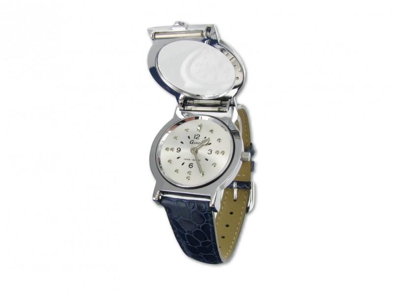 Náramkové hodinky s hmatovými znaky a koženým modrým páskem - Tercio.sk 52cead1de2